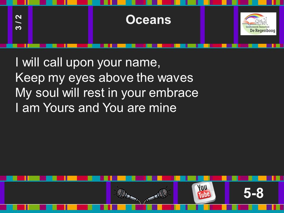 Oceans 5-8 3 / 2 I will call upon your name, Keep my eyes above the waves My soul will rest in your embrace I am Yours and You are mine