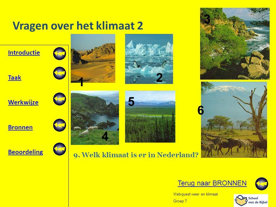 Introductie Taak Werkwijze Bronnen Beoordeling Webquest weer en klimaat Groep 7 Vragen over het klimaat 2 1 2 3 5 4 6 9. Welk klimaat is er in Nederla