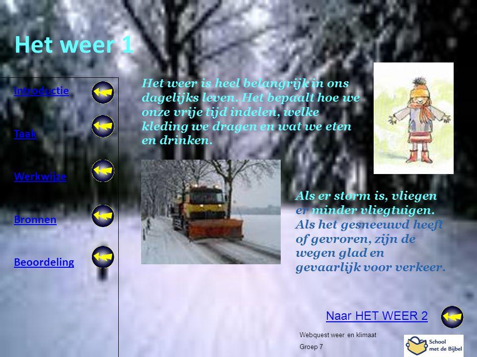Introductie Taak Werkwijze Bronnen Beoordeling Webquest weer en klimaat Groep 7 Het weer 1 Het weer is heel belangrijk in ons dagelijks leven. Het bep