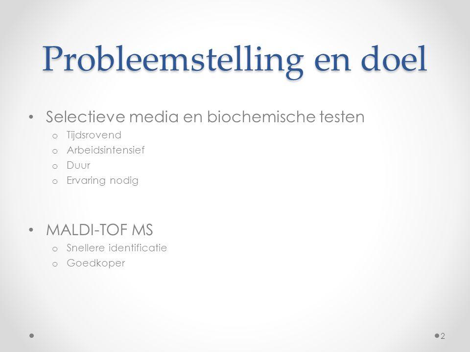 Probleemstelling en doel Selectieve media en biochemische testen o Tijdsrovend o Arbeidsintensief o Duur o Ervaring nodig MALDI-TOF MS o Snellere identificatie o Goedkoper 2