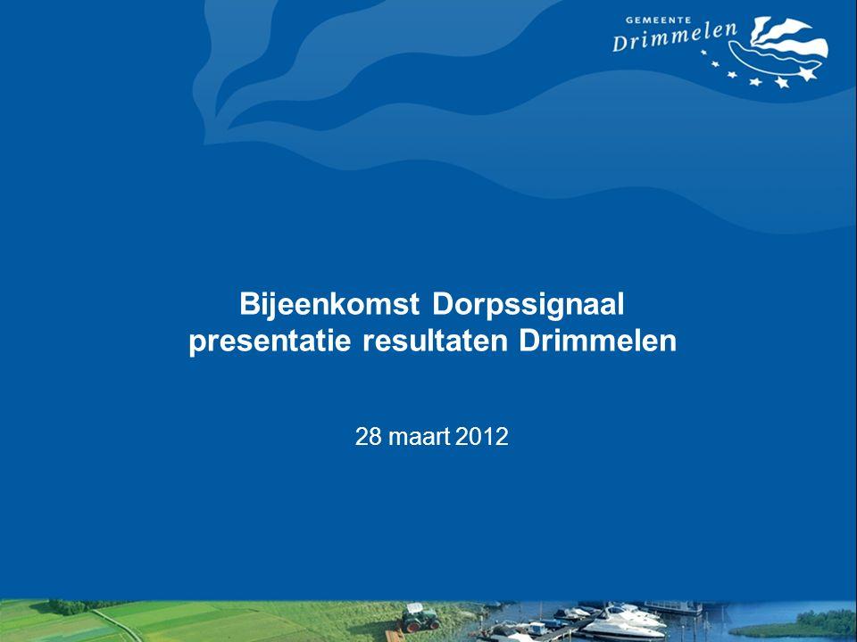 Bijeenkomst Dorpssignaal presentatie resultaten Drimmelen 28 maart 2012