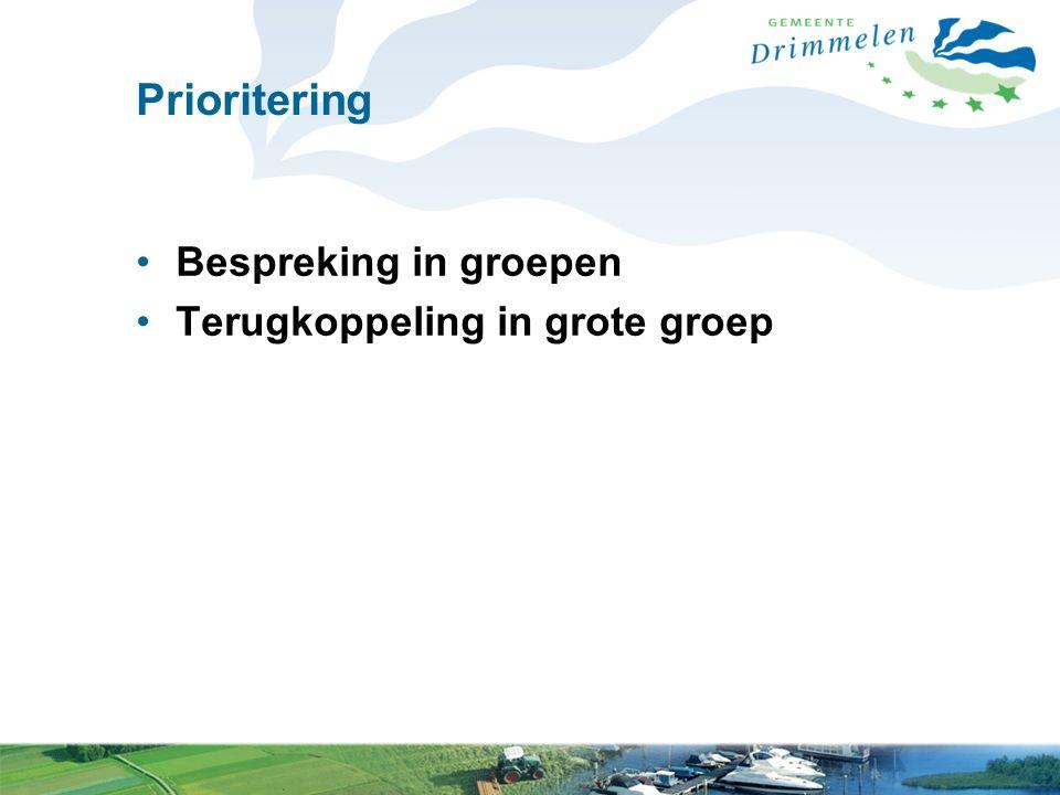 Prioritering Bespreking in groepen Terugkoppeling in grote groep