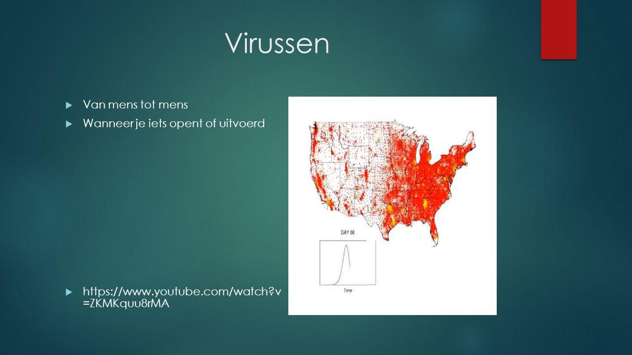Virussen  Van mens tot mens  Wanneer je iets opent of uitvoerd  https://www.youtube.com/watch v =ZKMKquu8rMA