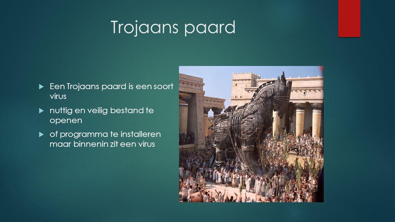 Trojaans paard  Een Trojaans paard is een soort virus  nuttig en veilig bestand te openen  of programma te installeren maar binnenin zit een virus