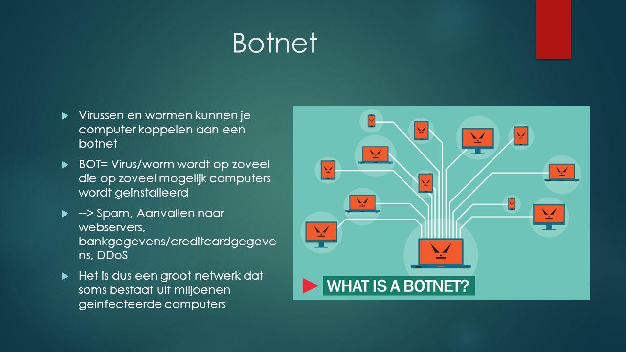 Botnet  Virussen en wormen kunnen je computer koppelen aan een botnet  BOT= Virus/worm wordt op zoveel die op zoveel mogelijk computers wordt geinstalleerd  --> Spam, Aanvallen naar webservers, bankgegevens/creditcardgegeve ns, DDoS  Het is dus een groot netwerk dat soms bestaat uit miljoenen geinfecteerde computers