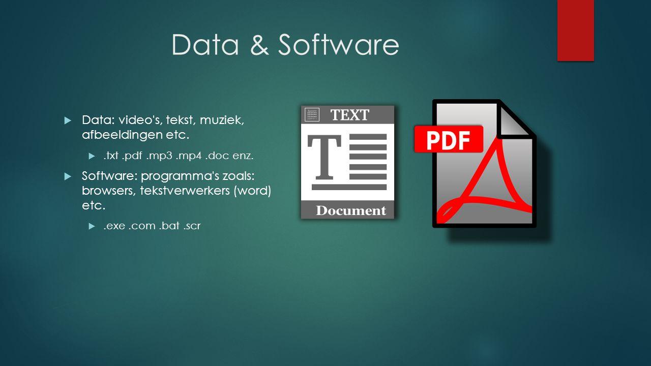 Data & Software  Data: video s, tekst, muziek, afbeeldingen etc.