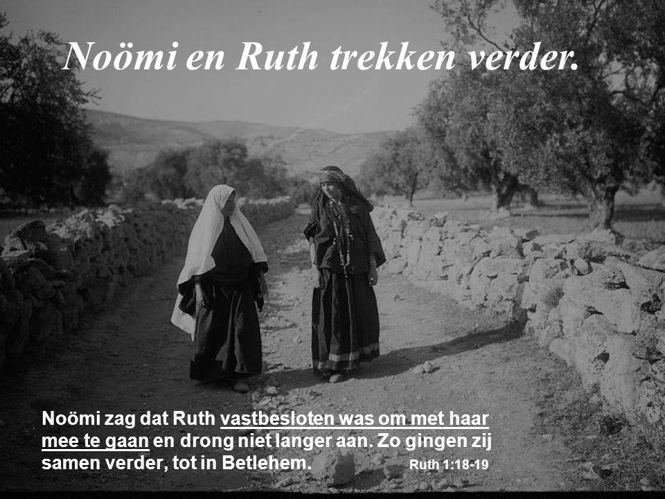 Noömi zag dat Ruth vastbesloten was om met haar mee te gaan en drong niet langer aan. Zo gingen zij samen verder, tot in Betlehem. Ruth 1:18-19 Noömi