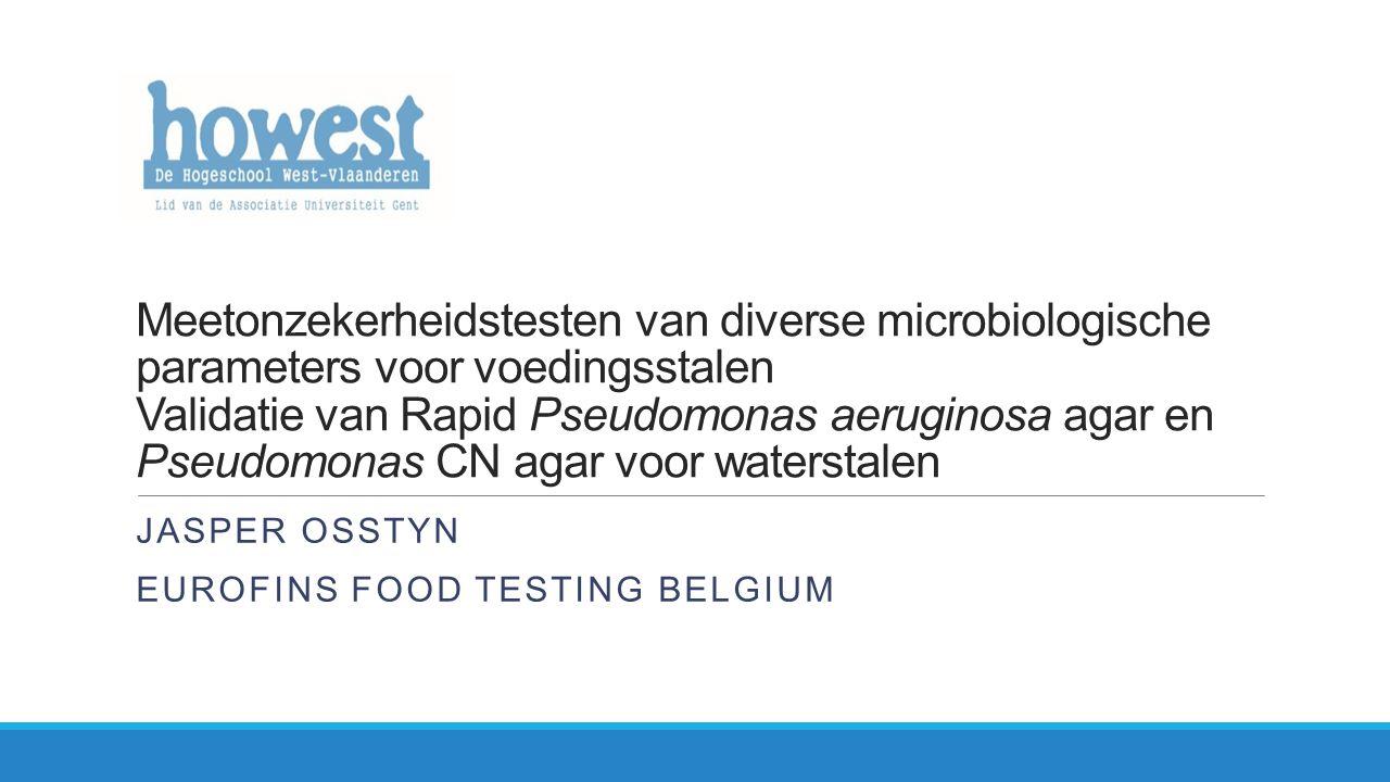 Inhoud Inleiding Deel 1: meetonzekerheidstesten in voeding ◦Inleiding ◦Strategie ◦Resultaten ◦Conclusie Deel 2: validatie van PCN en RPSA agar in water ◦Inleiding ◦Validatie 1 ◦Validatie 2 ◦Conclusie