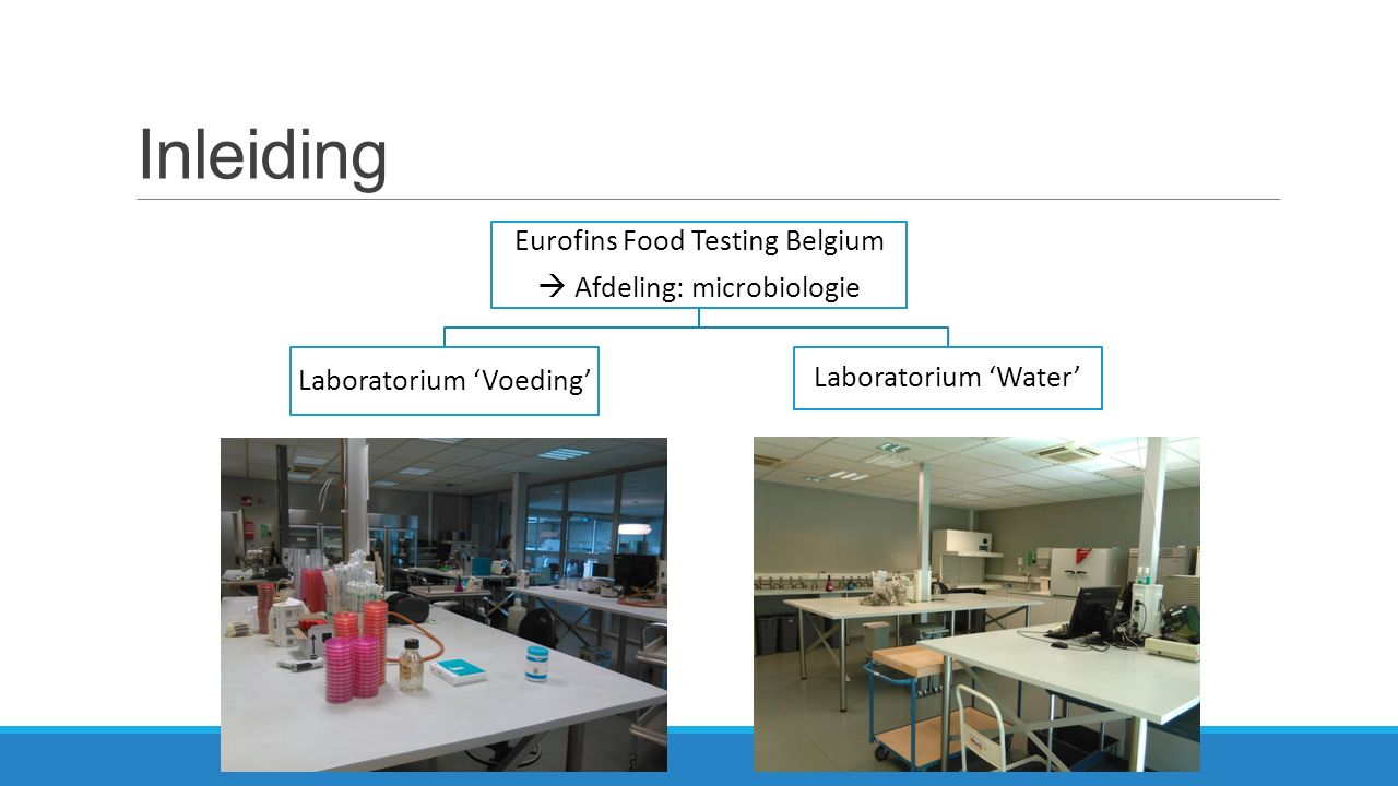Inleiding Eurofins Food Testing Belgium  Afdeling: microbiologie Laboratorium 'Voeding' Laboratorium 'Water'