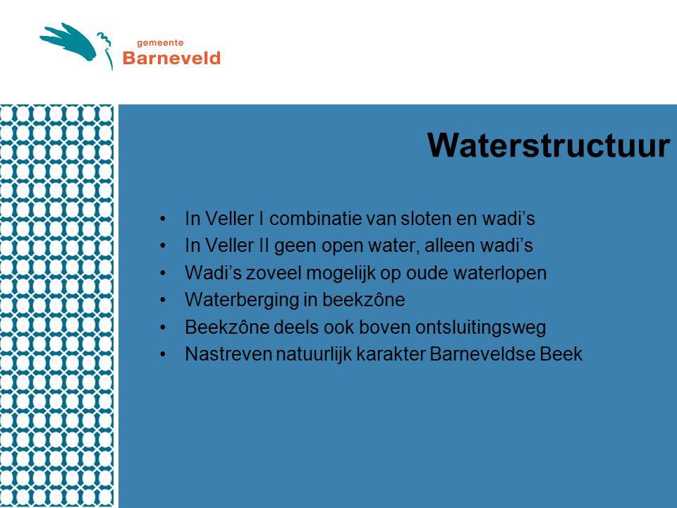 Waterstructuur In Veller I combinatie van sloten en wadi's In Veller II geen open water, alleen wadi's Wadi's zoveel mogelijk op oude waterlopen Waterberging in beekzône Beekzône deels ook boven ontsluitingsweg Nastreven natuurlijk karakter Barneveldse Beek
