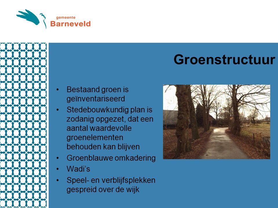 Groenstructuur Bestaand groen is geïnventariseerd Stedebouwkundig plan is zodanig opgezet, dat een aantal waardevolle groenelementen behouden kan blijven Groenblauwe omkadering Wadi's Speel- en verblijfsplekken gespreid over de wijk