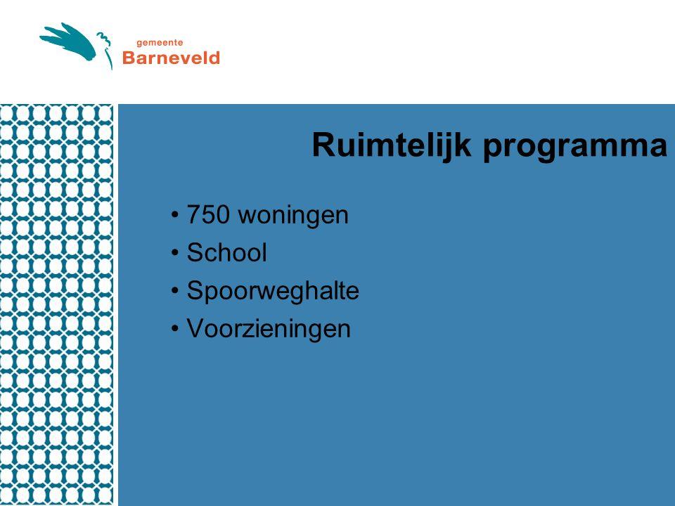Ruimtelijk programma 750 woningen School Spoorweghalte Voorzieningen