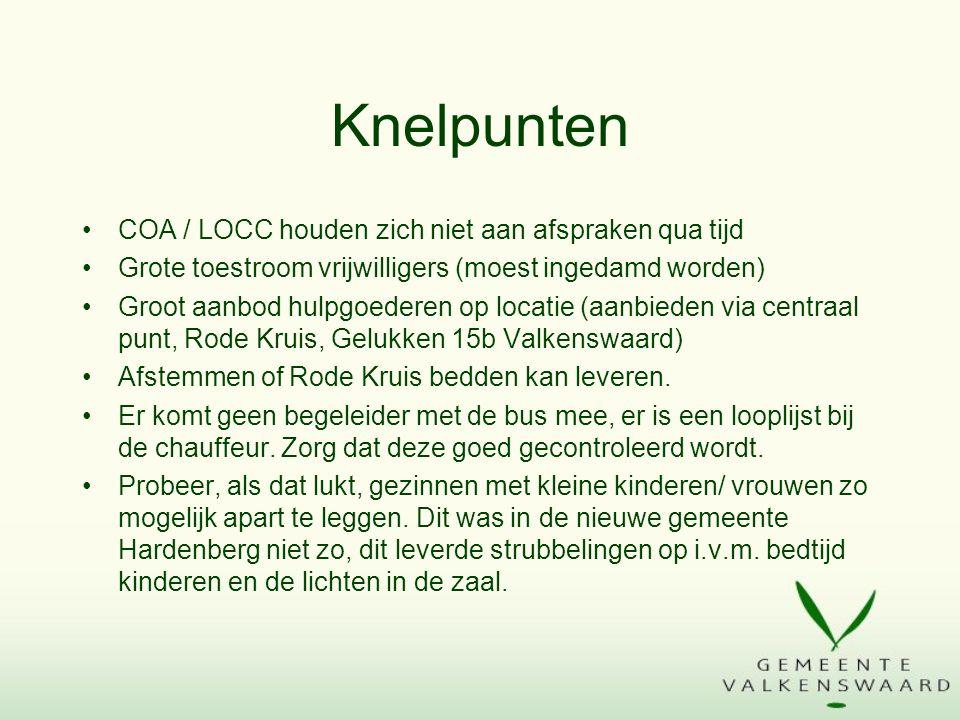 Knelpunten COA / LOCC houden zich niet aan afspraken qua tijd Grote toestroom vrijwilligers (moest ingedamd worden) Groot aanbod hulpgoederen op locatie (aanbieden via centraal punt, Rode Kruis, Gelukken 15b Valkenswaard) Afstemmen of Rode Kruis bedden kan leveren.