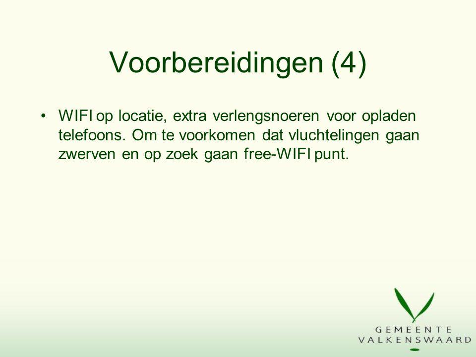 Voorbereidingen (4) WIFI op locatie, extra verlengsnoeren voor opladen telefoons.