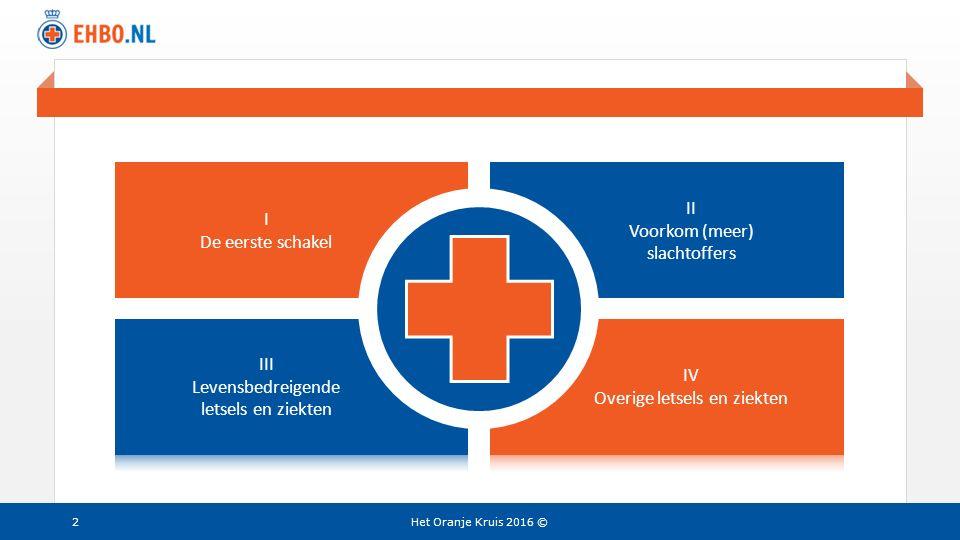 Beeld en tekst gelijk I De eerste schakel II Voorkom (meer) slachtoffers Het Oranje Kruis 2016 ©2