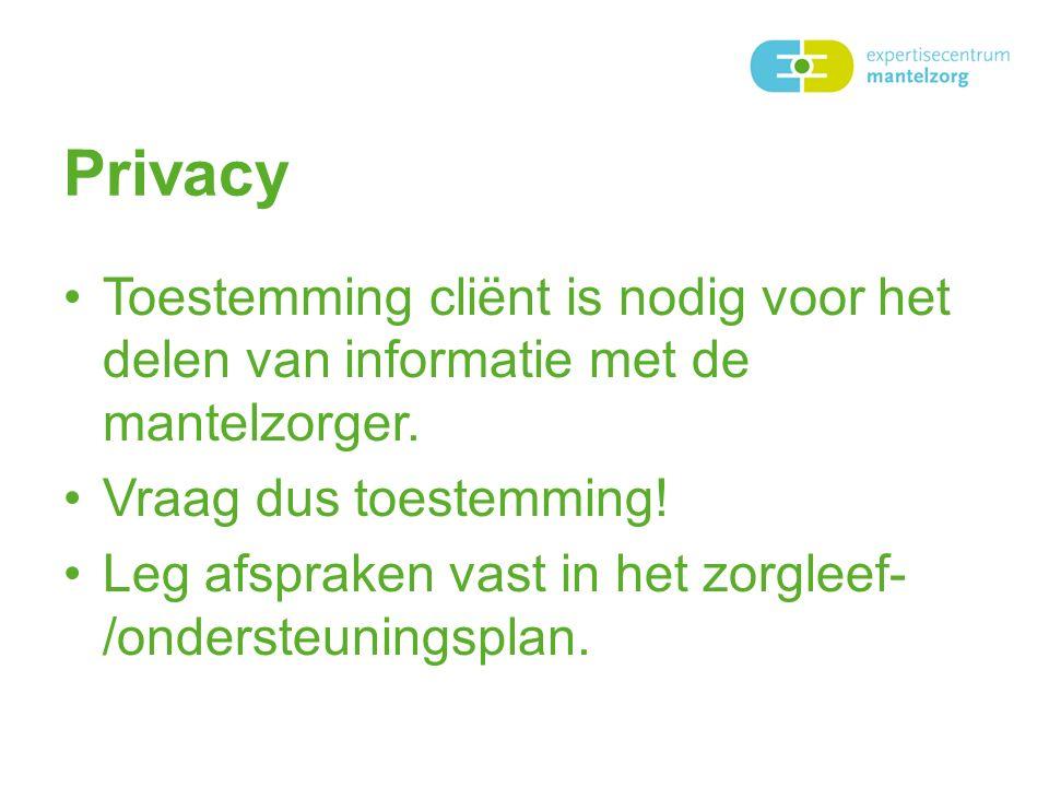 Privacy Toestemming cliënt is nodig voor het delen van informatie met de mantelzorger.