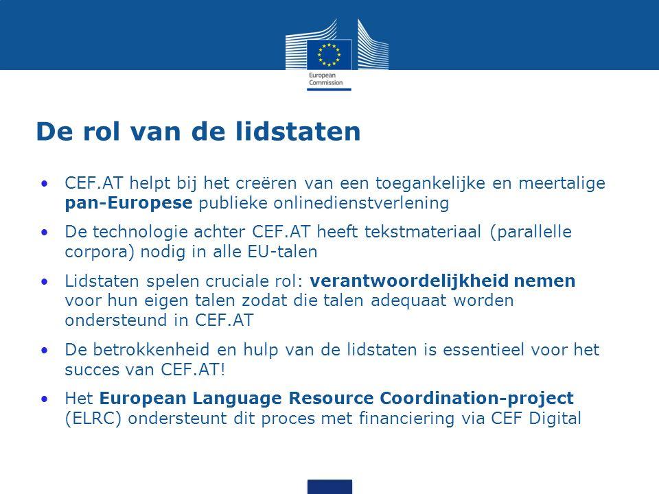 Deel van de oplossing: CEF-platform voor geautomatiseerde vertaling (CEF.AT) CEF.AT zal de Europese publieke onlinedienstverlening meertalig maken...