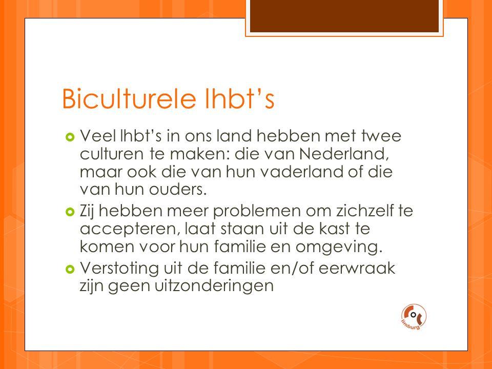 Biculturele lhbt's  Veel lhbt's in ons land hebben met twee culturen te maken: die van Nederland, maar ook die van hun vaderland of die van hun ouders.