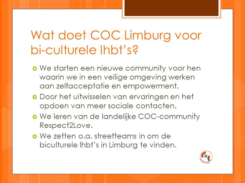 Wat doet COC Limburg voor bi-culturele lhbt's.