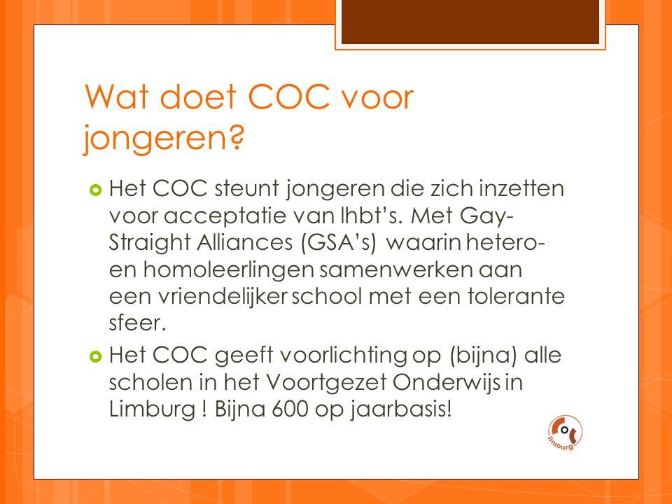 Wat doet COC voor jongeren.  Het COC steunt jongeren die zich inzetten voor acceptatie van lhbt's.