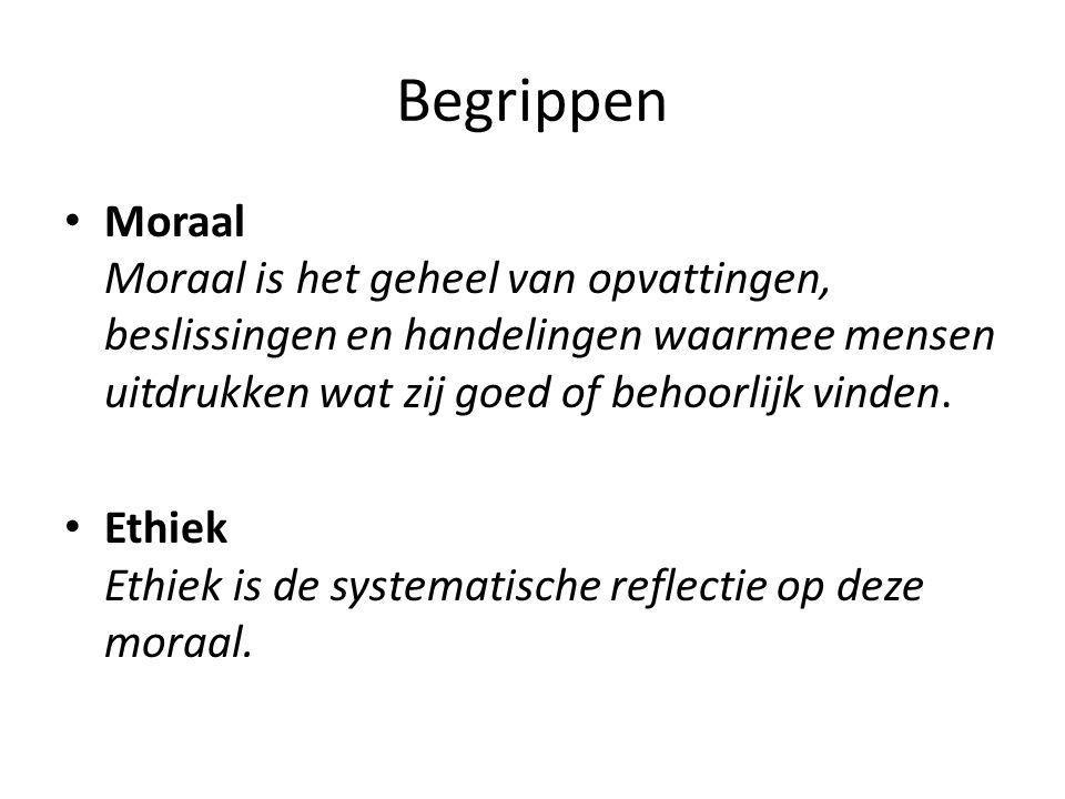 Begrippen Moraal Moraal is het geheel van opvattingen, beslissingen en handelingen waarmee mensen uitdrukken wat zij goed of behoorlijk vinden.