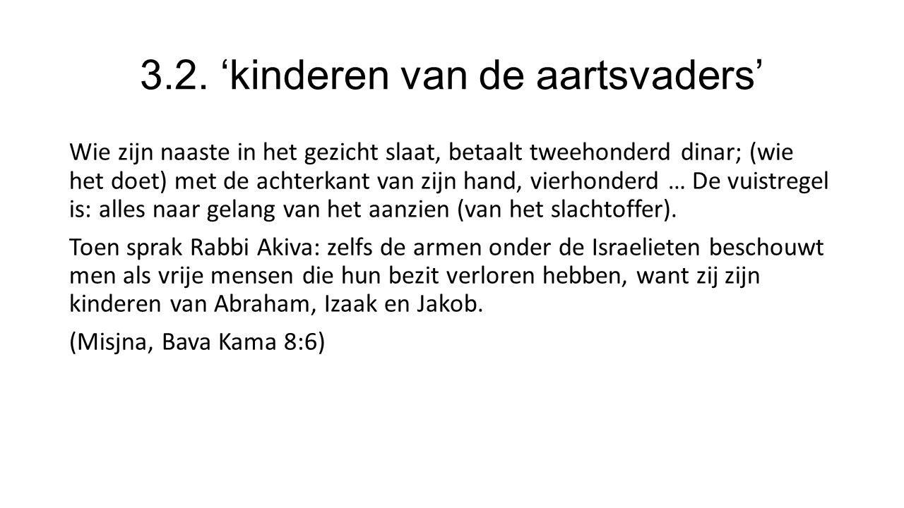 3.2. 'kinderen van de aartsvaders' Wie zijn naaste in het gezicht slaat, betaalt tweehonderd dinar; (wie het doet) met de achterkant van zijn hand, vi