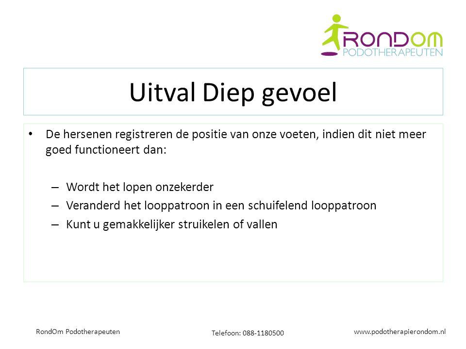 www.podotherapierondom.nl Telefoon: 088-1180500 RondOm Podotherapeuten Uitval Diep gevoel De hersenen registreren de positie van onze voeten, indien d