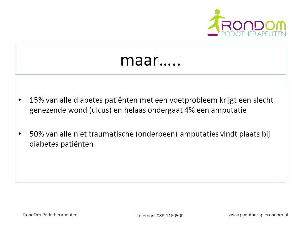 www.podotherapierondom.nl Telefoon: 088-1180500 RondOm Podotherapeuten maar….. 15% van alle diabetes patiënten met een voetprobleem krijgt een slecht