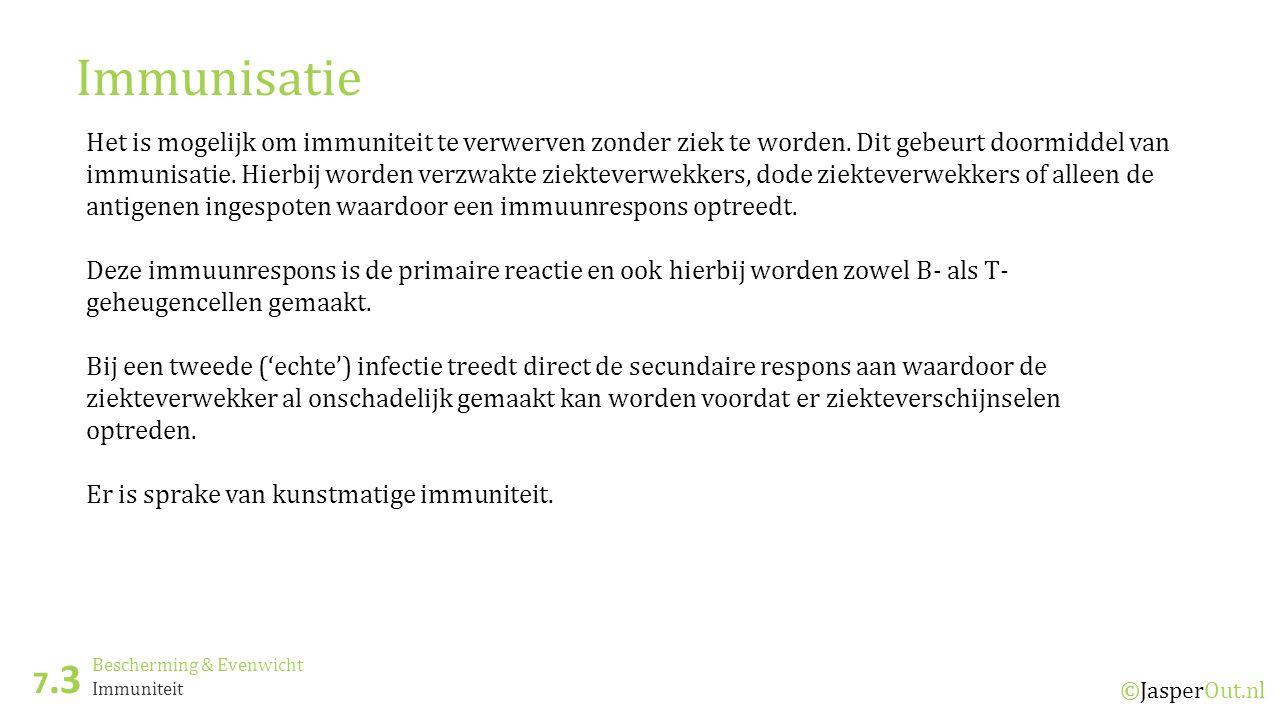 Bescherming & Evenwicht 7.3 ©JasperOut.nl Immuniteit Immunisatie Het is mogelijk om immuniteit te verwerven zonder ziek te worden.