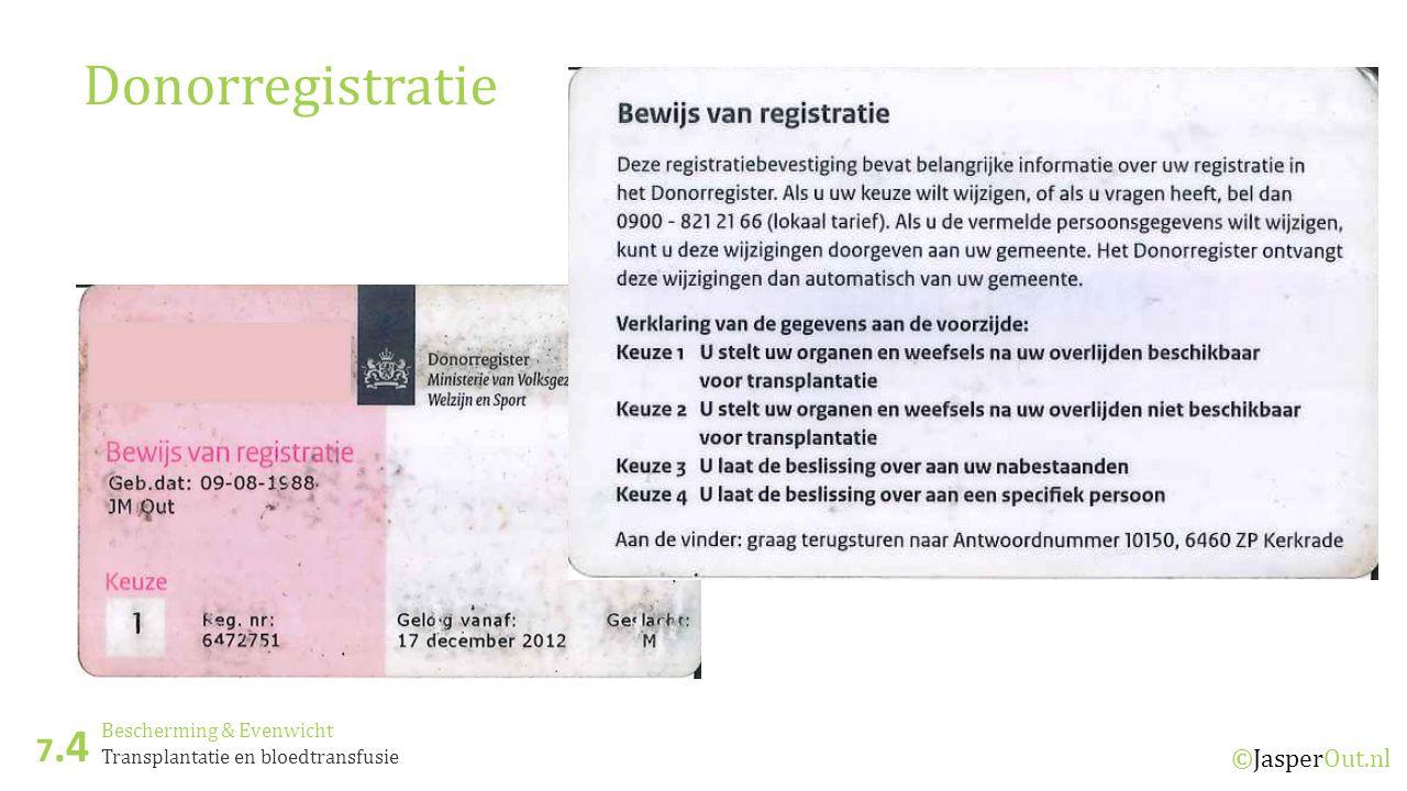 Bescherming & Evenwicht 7.4 ©JasperOut.nl Transplantatie en bloedtransfusie Donorregistratie
