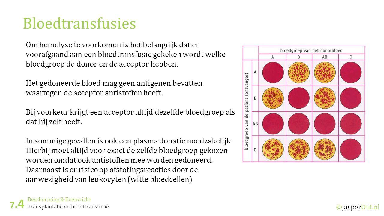 Bescherming & Evenwicht 7.4 ©JasperOut.nl Transplantatie en bloedtransfusie Bloedtransfusies Om hemolyse te voorkomen is het belangrijk dat er voorafgaand aan een bloedtransfusie gekeken wordt welke bloedgroep de donor en de acceptor hebben.