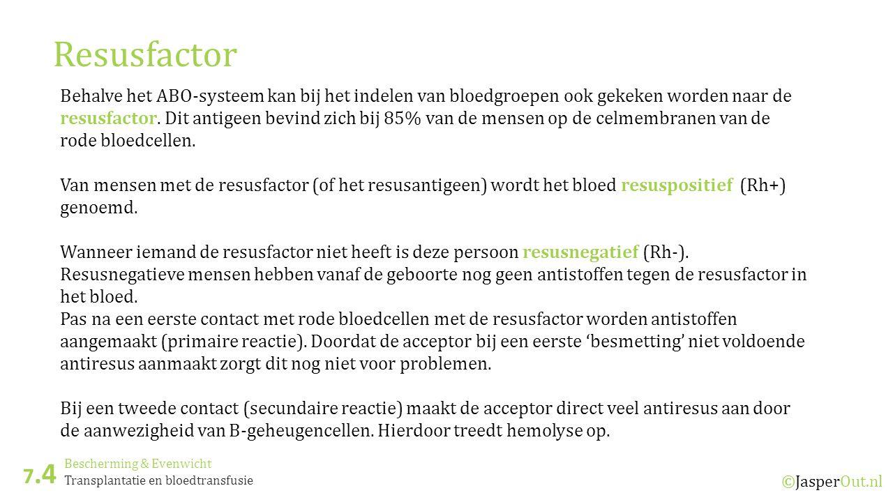 Bescherming & Evenwicht 7.4 ©JasperOut.nl Transplantatie en bloedtransfusie Resusfactor Behalve het ABO-systeem kan bij het indelen van bloedgroepen ook gekeken worden naar de resusfactor.