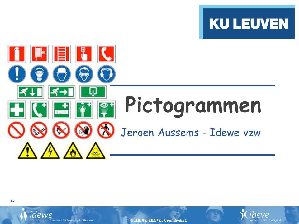 © IDEWE-IBEVE. Confidential. 23 Pictogrammen Jeroen Aussems - Idewe vzw
