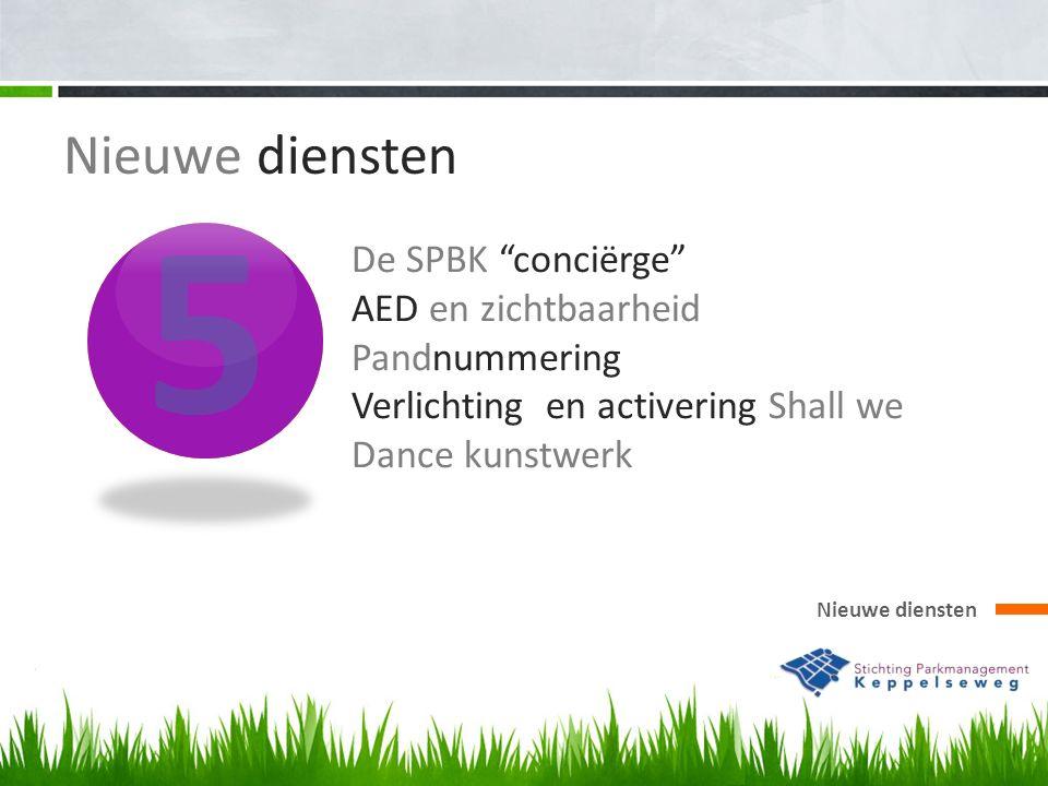 5 Nieuwe diensten De SPBK conciërge AED en zichtbaarheid Pandnummering Verlichting en activering Shall we Dance kunstwerk Nieuwe diensten