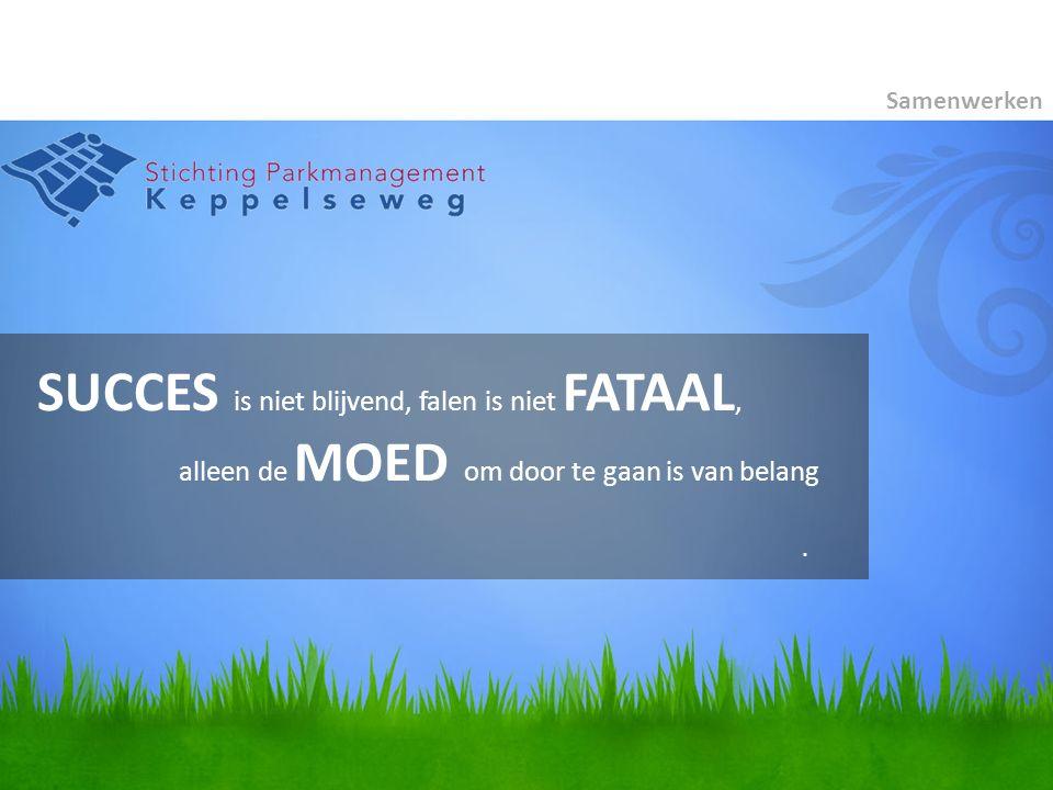 SUCCES is niet blijvend, falen is niet FATAAL, alleen de MOED om door te gaan is van belang Samenwerken.