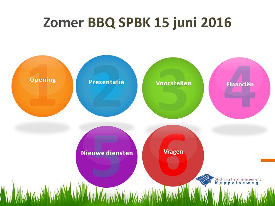 Zomer BBQ SPBK 15 juni 2016 1Opening 2Presentatie 3Voorstellen 4Financiën 5 Nieuwe diensten 6Vragen