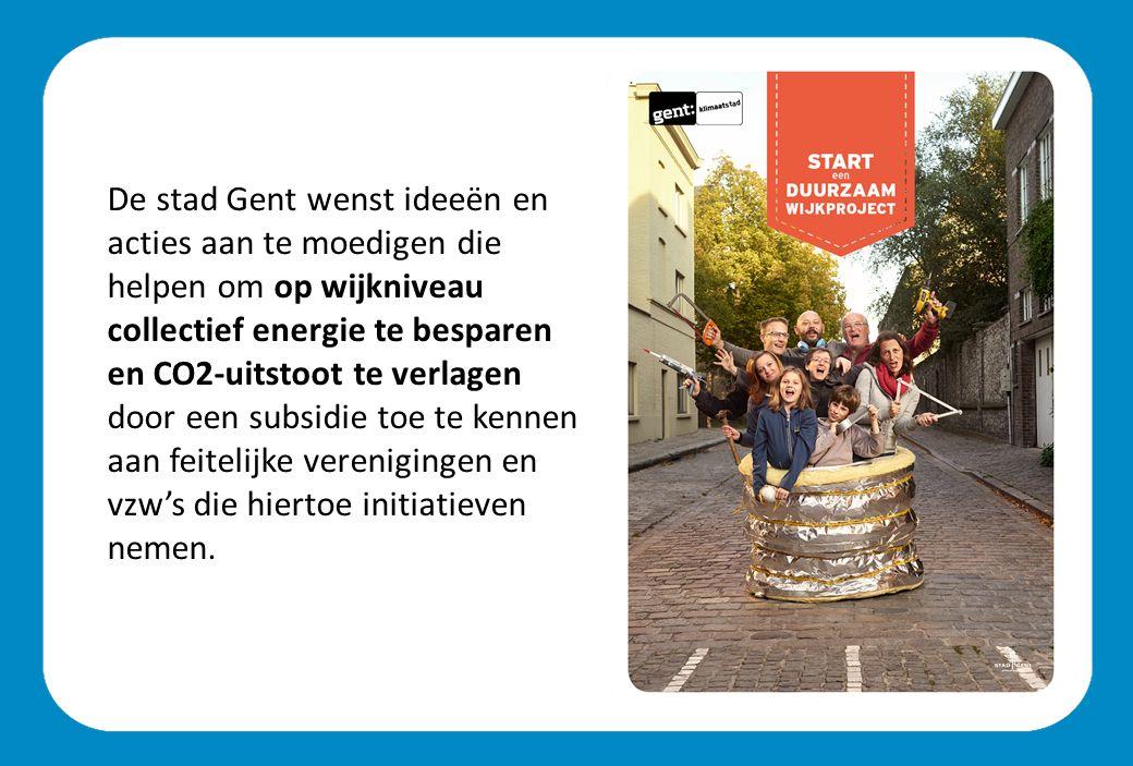 De stad Gent wenst ideeën en acties aan te moedigen die helpen om op wijkniveau collectief energie te besparen en CO2-uitstoot te verlagen door een subsidie toe te kennen aan feitelijke verenigingen en vzw's die hiertoe initiatieven nemen.