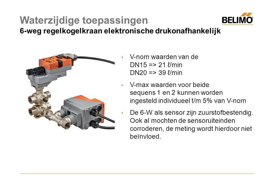 Waterzijdige toepassingen 6-weg regelkogelkraan elektronische drukonafhankelijk V-nom waarden van de DN15 => 21 ℓ/min DN20 => 39 ℓ/min V-max waarden voor beide sequens 1 en 2 kunnen worden ingesteld individueel t/m 5% van V-nom De 6-W als sensor zijn zuurstofbestendig.