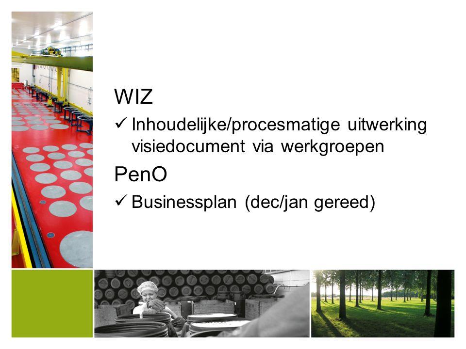 WIZ Inhoudelijke/procesmatige uitwerking visiedocument via werkgroepen PenO Businessplan (dec/jan gereed)