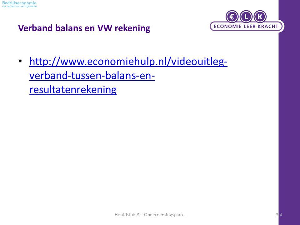 voor het besturen van organisaties Bedrijfseconomie Verband balans en VW rekening http://www.economiehulp.nl/videouitleg- verband-tussen-balans-en- resultatenrekening http://www.economiehulp.nl/videouitleg- verband-tussen-balans-en- resultatenrekening Hoofdstuk 3 – Ondernemingsplan -3.4