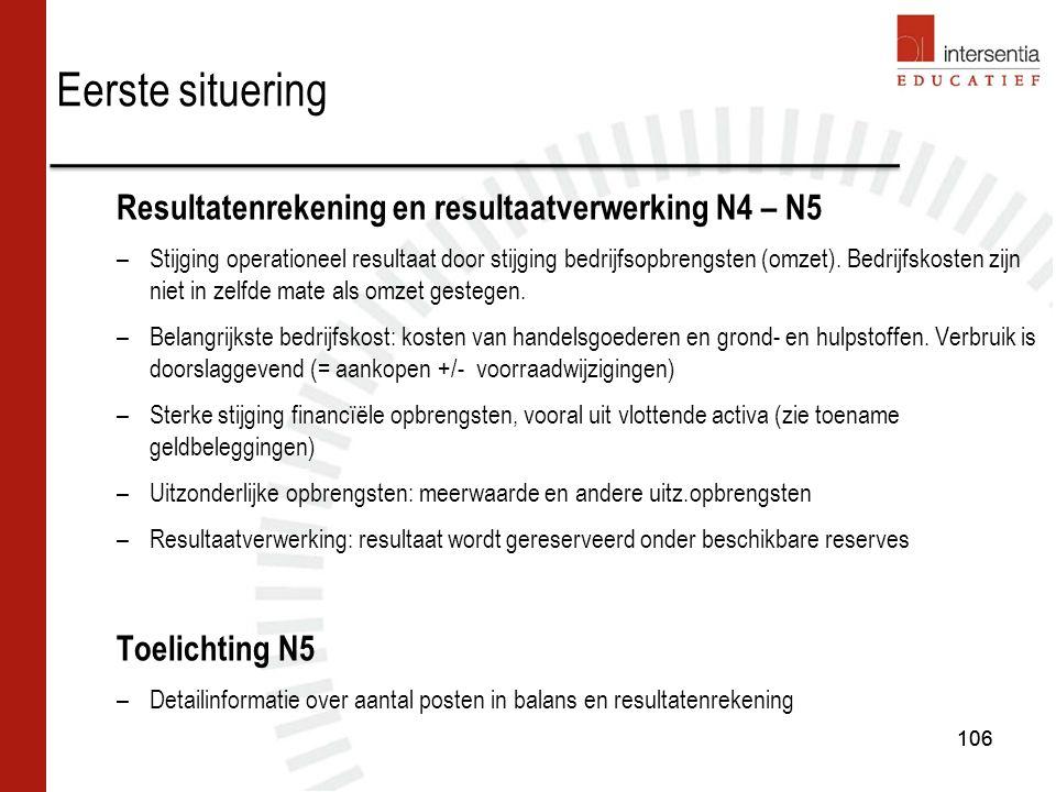 106 Resultatenrekening en resultaatverwerking N4 – N5 –Stijging operationeel resultaat door stijging bedrijfsopbrengsten (omzet).