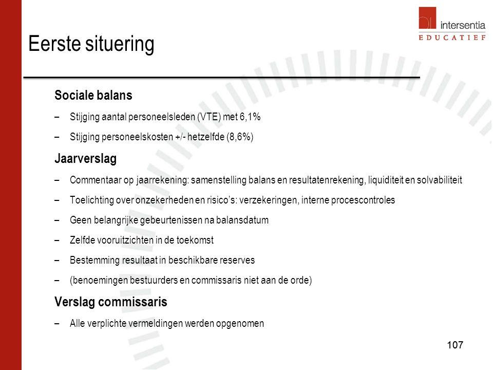 107 Sociale balans –Stijging aantal personeelsleden (VTE) met 6,1% –Stijging personeelskosten +/- hetzelfde (8,6%) Jaarverslag –Commentaar op jaarrekening: samenstelling balans en resultatenrekening, liquiditeit en solvabiliteit –Toelichting over onzekerheden en risico's: verzekeringen, interne procescontroles –Geen belangrijke gebeurtenissen na balansdatum –Zelfde vooruitzichten in de toekomst –Bestemming resultaat in beschikbare reserves –(benoemingen bestuurders en commissaris niet aan de orde) Verslag commissaris –Alle verplichte vermeldingen werden opgenomen Eerste situering 107