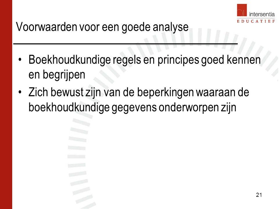 Voorwaarden voor een goede analyse Boekhoudkundige regels en principes goed kennen en begrijpen Zich bewust zijn van de beperkingen waaraan de boekhoudkundige gegevens onderworpen zijn 21