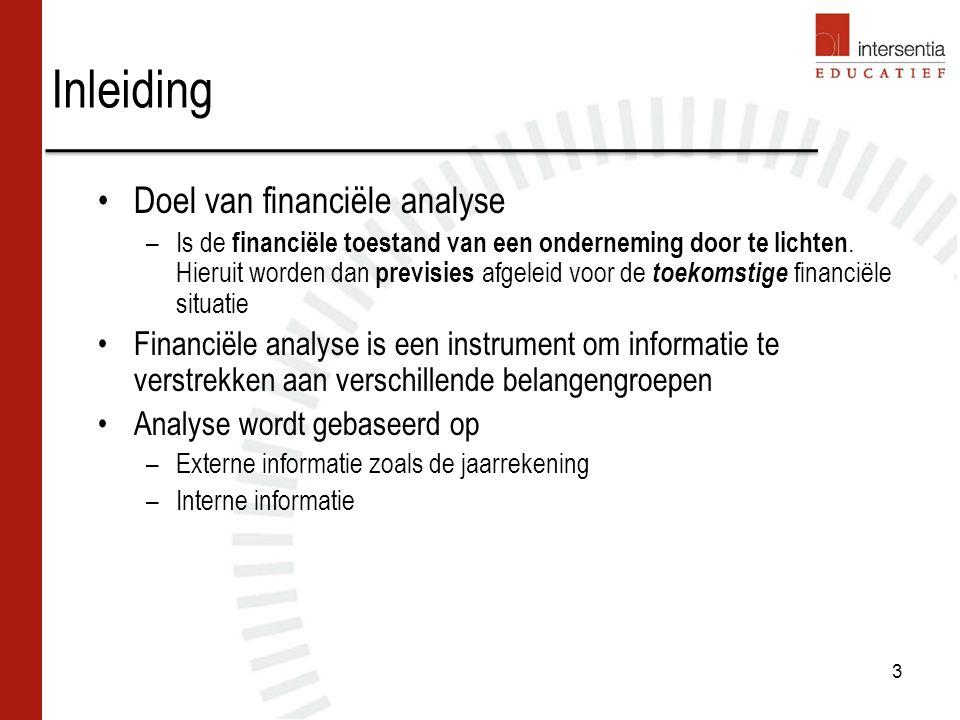 Inleiding Doel van financiële analyse –Is de financiële toestand van een onderneming door te lichten.