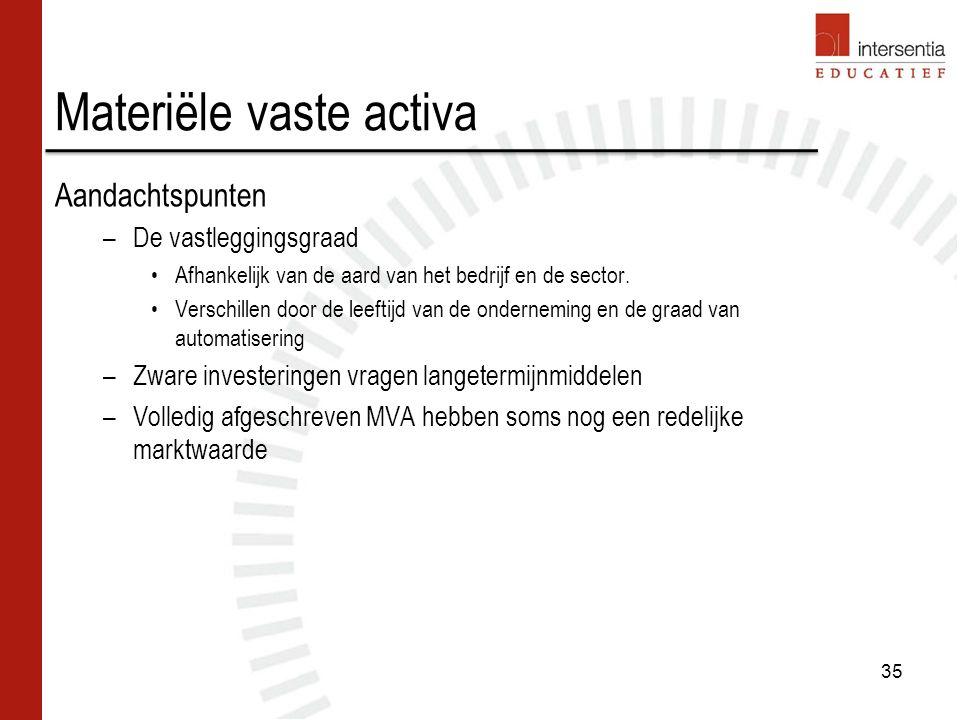 Materiële vaste activa Aandachtspunten –De vastleggingsgraad Afhankelijk van de aard van het bedrijf en de sector.