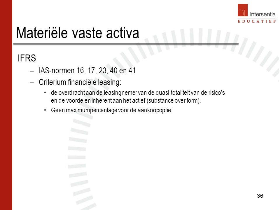 Materiële vaste activa IFRS –IAS-normen 16, 17, 23, 40 en 41 –Criterium financiële leasing: de overdracht aan de leasingnemer van de quasi-totaliteit van de risico's en de voordelen inherent aan het actief (substance over form).