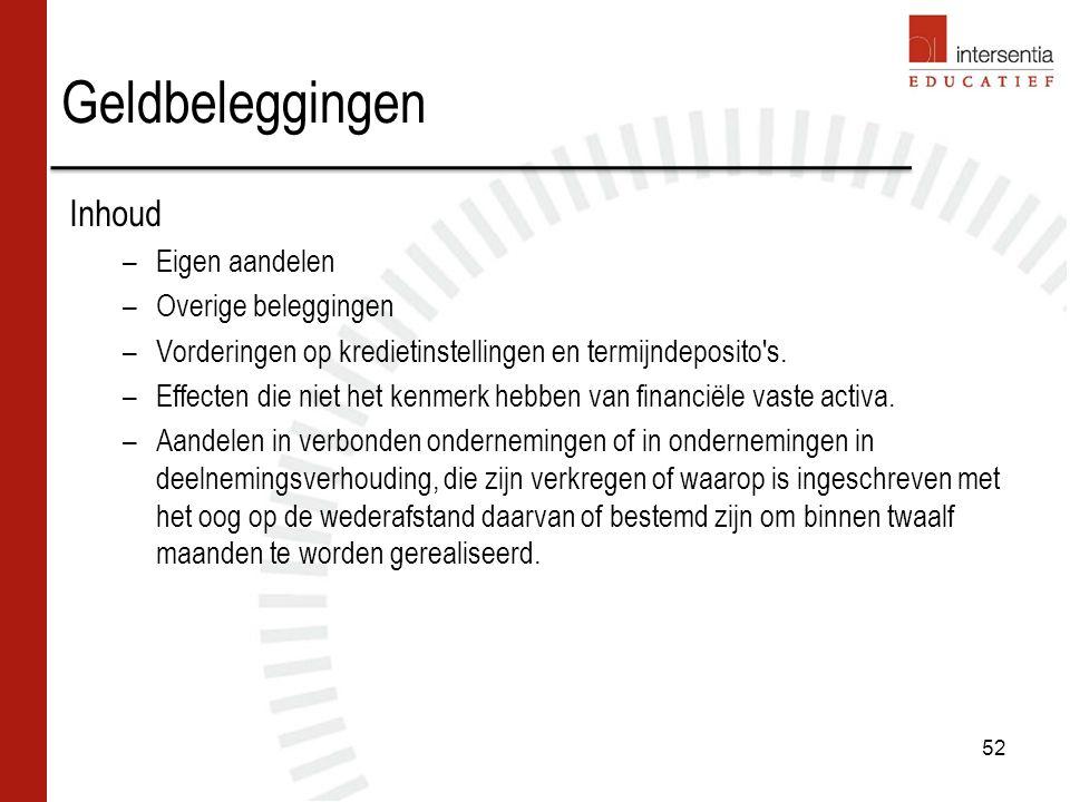 Geldbeleggingen Inhoud –Eigen aandelen –Overige beleggingen –Vorderingen op kredietinstellingen en termijndeposito s.