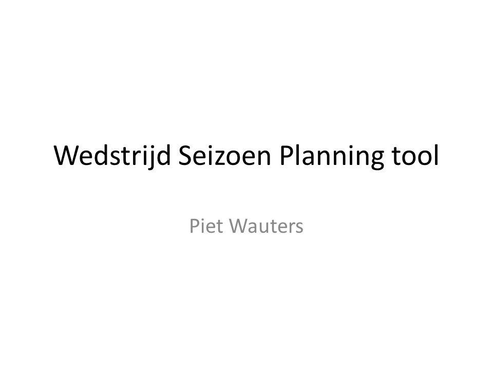 Wedstrijd Seizoen Planning tool Piet Wauters