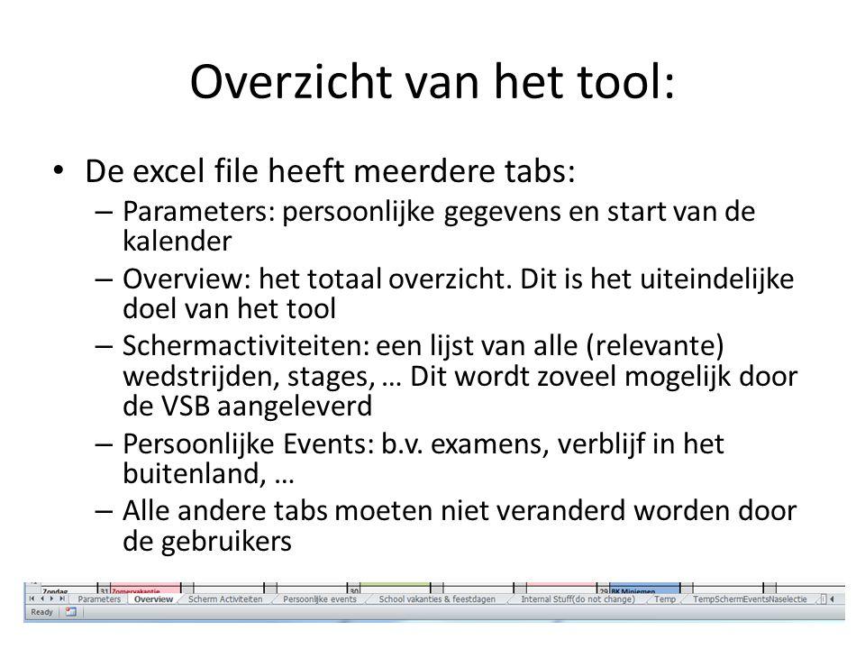 Overzicht van het tool: De excel file heeft meerdere tabs: – Parameters: persoonlijke gegevens en start van de kalender – Overview: het totaal overzicht.