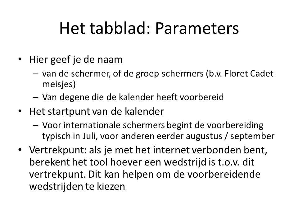 Het tabblad: Parameters Hier geef je de naam – van de schermer, of de groep schermers (b.v. Floret Cadet meisjes) – Van degene die de kalender heeft v
